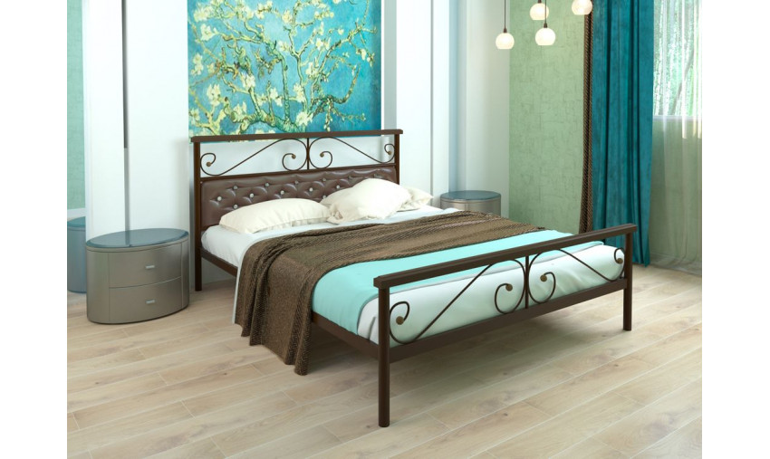 Кровать металлическая Эсмеральда Plus мягкая
