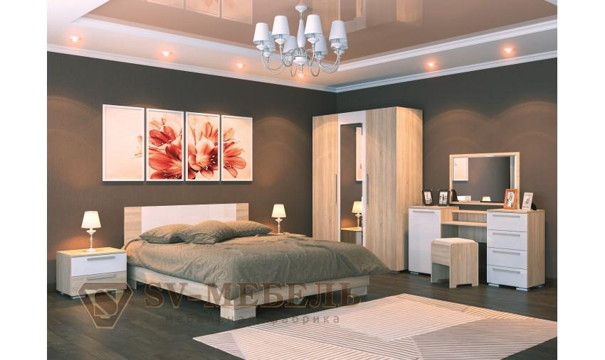 Спальня Лагуна 2 (дуб сонома/белый глянец)