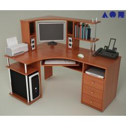Угловой компьютерный стол С-820 с надстройкой Н-821