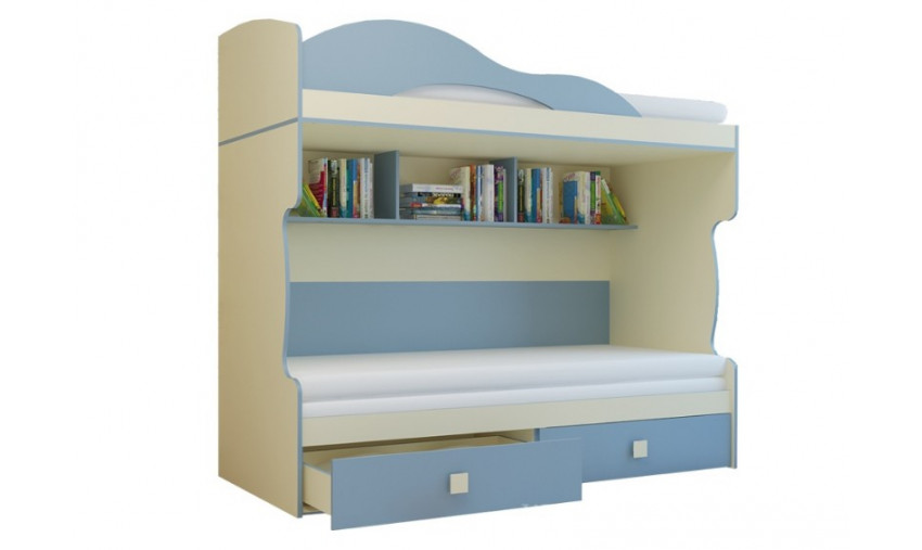 Кровать 2-х этажная с тахтой Радуга